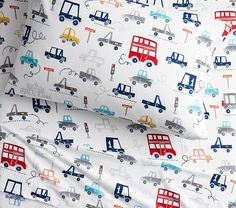 Organic Flannel Things That Go Sheet Set, Standard Pillow Case, White Transportation Nursery, Kids Sheet Sets, Towel Wrap, Bedding Basics, Nursery Bedding, Pottery Barn Kids, Boy Room, Service Design, Free Design