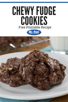 Our Chewy Fudge Cookies are just the thing to satisfy any cookie lover! With chocolate chips, chocolate squares, and some extra pecans for crunch, who could say no to these easy-to-bake cookies? Fudge Cookies, No Bake Cookies, Chocolate Cookies, Chocolate Chips, Chip Cookies, Holiday Cookie Recipes, Holiday Cookies, Delicious Desserts, Dessert Recipes