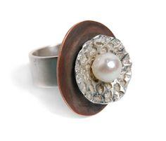anillo cobre, plata con perla