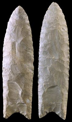 Both of these Clovis points were found in Alabama. The point on the right was found near the Tennessee River by Georgia Dunn.