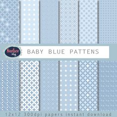 Blue Baby Digital paper BABY BLUE PATTENS Blue by SurfaceHug, $4.80 #Digital paper #instant download #wedding invites These papers will be useful in creative projects such as Cards, Invites, Wedding Invites, backgrounds, Childrens parties, scrap booking, any creative project. Instant download to your Etsy email address.