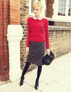 peter pan collar, polka dot skirt