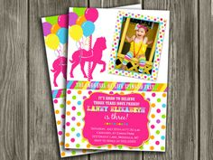 Printable Carousel Birthday Photo Invitation | Girl Birthday Party Idea | FREE thank you card | Become a loyal fan on Facebook to receive freebies and see the latest designs! www.facebook.com/DazzleExpressions