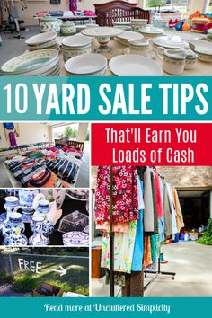 Make the most money at your next yard sale with these handy garage sale tips. From yard sale pricing, to how to set up a successful sale. Garage Sale Signs, Yard Sale Signs, For Sale Sign, Online Garage Sale, Garage Sale Pricing, Garage Sale Organization, Rummage Sale, Moving Tips, Making Ideas