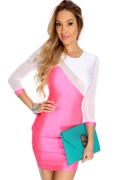 If you are looking for something chic and sexy for your next party, then your search is over. You will turn heads and everyone will ask where you shop when you show up in this hot little number! Definitely a must have! It features two tone, mesh cut outs, quarter sleeves, and tight fitted.