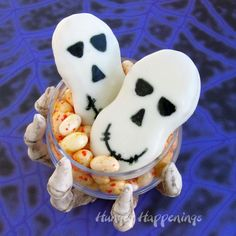 Nutter Butters turned into skeleton cookies
