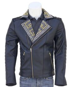 Studded Leather Jacket, Leather Design, Punk Fashion, Color Shades, Cowhide Leather, Vintage Inspired, Turquoise, Purple, Jackets
