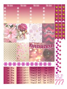 Pink Christmas Free THP (the happy planner by MAMBI) sticker. Free printable sticker layout may be subject to copyright not intended for retail; personal use only