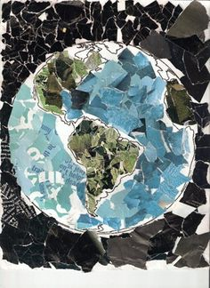 I think this would be a fun craft to go along with an earth day/ recycling lesson. Get each student to cut out pieces of a magazine that are black, green, and blue, and then organize into a giant one of this ^
