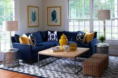 30 Awesome Picture of Blue Couch Living Room . Blue Couch Living Room Blue Couch Living Room Inspiration Willie Homes Blue Couch Blue And Yellow Living Room, Blue Couch Living Room, Living Room Decor Colors, Blue Living Room Decor, Living Room Paint, Living Room Grey, Living Room Designs, Grey Yellow, Cozy Living
