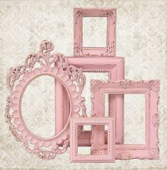 Shabby Chic Picture Frame Pastel Pink Picture Frame Set Ornate Frames Wedding Nursery Shabby Chic Home Decor via Etsy
