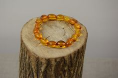 Genuine Baltic Amber Bracelet Oval Amber Beads by AmberGiftLT