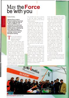Feature article on the Sahara Force India Driver Academy by Dave Bewley for the Spetember issue of Karting Magazine
