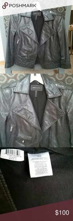 Leather moto jacket sz small BCBG Maxazria brand size small. Color is a blackish gray. 3/4 sleeves includes both leather and knit cotton. Beautiful,  Soft leather. Asymmetric zip up. Some pilling  in the cotton arm sleeve part. (See photo) This jacket is to die for! BCBGMaxAzria Jackets & Coats