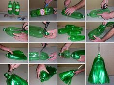 Turning an old 2 liter bottle into a broom. | Here Are 30 Brilliant Ways To Use Old Stuff You're About To Throw Away.