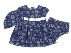 3-tlg. Kombination für Mädchen:  Kleid, Bloomer, Kappe, Größe: 68-74, amerikanische Mode, Anlässe: Frühling, Herbst, Taufe & Feste
