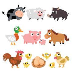 coleta de animais de fazenda Vetor grátis