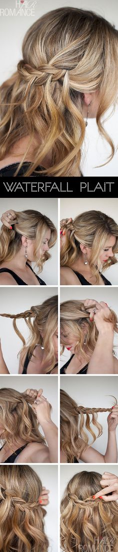 Hair Romance - Waterfall Plait hairstyle tutorials she has used hair from each side and then met in the middle Plaits Hairstyles, Romantic Hairstyles, Pretty Hairstyles, Wedding Hairstyles, Everyday Hairstyles, Hairdos, French Hairstyles, Updo Hairstyle, Simple Hairstyles