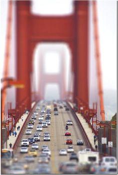 Tilt shift photo of the golden gate bridge