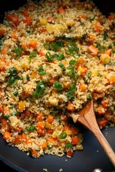 Easy Fried Rice Quinoa Recipe: Remember to substitute soy sauce with liquid aminos and play around with the veggies you like. We added mushrooms, red bell pepper and lots of lime! Add some Bare Chicken or wild caught shrimp if you want!