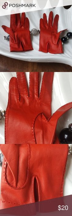 Vintage madova lamb leather gloves- made in italy These madova gloves are real lamb leather, veey thin and delicate like a driving glove. Size 6 1/2 and has some stretch to them for a form fitting fit. Like a size small. Marks/spots from age and wear are shown in pics. Madova glove factory made and bought in florence italy madova Accessories Gloves & Mittens