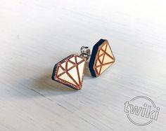 Diamond wood earring studs by TwikiConcept