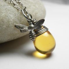 Bee Necklace -  Honey Bee Wire Wrap Oxidized Silver by LunaJewelry on Etsy