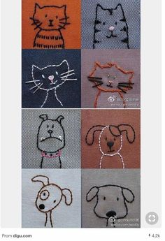 Tiergesichter nähen Sewing animal faces The post Sewing animal faces appeared first on Pink Unicorn. Hand Embroidery Patterns, Diy Embroidery, Cross Stitch Embroidery, Machine Embroidery, Embroidery Designs, Sewing Patterns, Craft Patterns, Fabric Crafts, Sewing Crafts