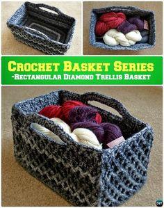 DIY Crochet Rectangular Diamond Trellis Basket Storage Basket Free Pattern