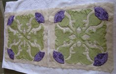 Scottish Thistle flower quilt squares, Hawaiian style, 2008.