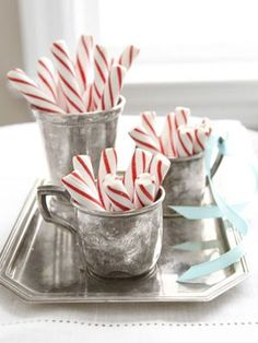Peppermint sticks in old silver. I love peppermint sticks. Diy Christmas Balls, Merry Little Christmas, Noel Christmas, Christmas Is Coming, Country Christmas, Winter Christmas, Vintage Christmas, Christmas Candy, Christmas Gifts