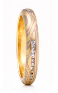 Mokume Diamond Wedding Ring - Triple Channel - 3.6mm