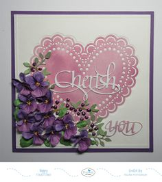 This card designed using the Love Struck and Garden Notes Pansy die sets.  The sentiments are A Way With Words die cuts.  Products are from Elizabeth Craft Designs.  Details are on my blog:  http://selmasstampingcorner.blogspot.com/2018/02/cherish-valentine-with-violets.html