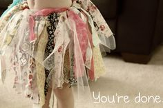mixing tulle and fabric scraps for a homemade tutu....adorable!