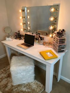 #DIY #HollywoodVanityMirror with a dimmer switch! My boyfriend not only made the table and painted it but he also install my very own Hollywood Vanity mirror. We've saved a good $300-400 doing it ourselves.