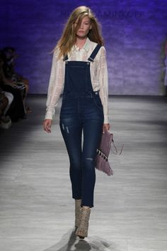 Overalls, white button-up, booties, and a tasseled clutch at Rebecca Minkoff Spring 2015 // #SS15 #NYFW @RebeccaMinkoff