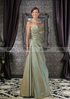 Strapless A-line Pleated Taffeta Pleated And Beadings Mother Of The Bride Dresses With A Jacket