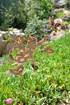 Cat Metal Copper Garden Yard Art Stake / Outdoor Sculpture / Pet Memorial Grave Marker / Butterfly Kitty Ornament