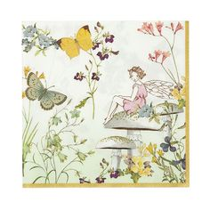 Bring the birthday fairy to your party with these quaint floral fairy-tale napkins. Featuring a pretty setting with a friendly fairy, butterflies and delicate flowers, these napkins are perfect for a