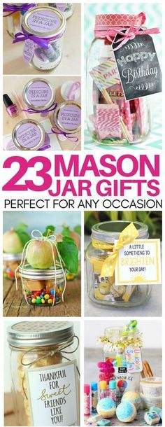 Need a thoughtful but cheap gift idea last minute? These mason jar gift ideas ar. - Need a thoughtful but cheap gift idea last minute? These mason jar gift ideas are perfect! Gifts for teacher appreciation, birthdays, hostess gifts, and more! Mason Jar Gifts, Mason Jar Diy, Gift Jars, Gifts In Jars, Mason Jar Projects, Diy Projects, Sewing Projects, Mason Jar Lighting, Cheap Gifts