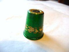 Thimble Brass Green Enamel Woodsetton Peeps Etched Gold Flowers   eBay