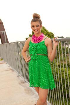 Kelly Green Polka Dot Dress. biminibutterfly.com