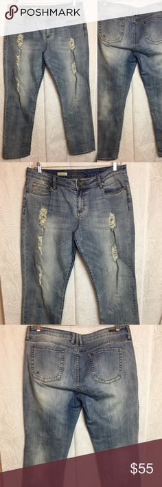 "KUT medium wash Catherine distressed boyfriend KUT from the Kloth's Catherine boyfriend fit in a medium wash with beautiful distressing.   Waist: 19"" Inseam: 30.5"" Rise: 10.5""  Inventory: X500 Kut from the Kloth Jeans Boyfriend"