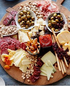 platter of goodness: cheeses, meats, nuts...