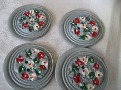 Set of 4 Large VINTAGE Gray with Painted Flower BUTTONS by abandc