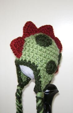 Crochet Dinosaur baby hat - Baby boy hat - Baby girl hat - Infant beanie with braids. $22.00, via Etsy.