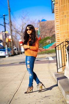 #longhair #latina #denim #fashion #style http://www.nytrendymoms.com/2014/12/denim-heels-and-sweater.html