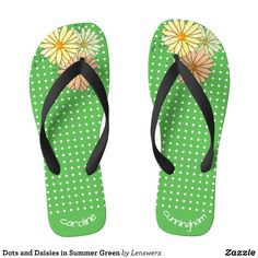 Dots and Daisies in Summer Green Flip Flops - Durable Thong Style Hawaiian Beach Sandals By Talented Fashion & Graphic Designers - #sandals #flipflops #hawaii #beach #hawaiian #footwear #mensfashion #apparel #shopping #bargain #sale #outfit #stylish #cool #graphicdesign #trendy #fashion #design #fashiondesign #designer #fashiondesigner #style