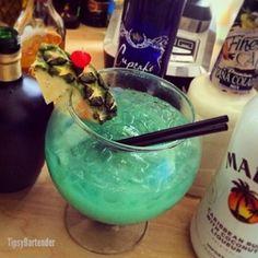 OCEAN BOWL PUNCH 2 oz. (60ml) Coconut Rum 2 oz. (60ml) Citrus Vodka 4 oz. (120ml) Sake 3 oz. ((90ml) Blue Curacao 2 1/2 oz. (75ml) Pina Colada Mix 6 oz. (180ml) Lemonade 6 oz. (180ml) Pineapple Juice Top with Orange Juice