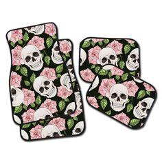 Pink Rose and Skull Car Mats